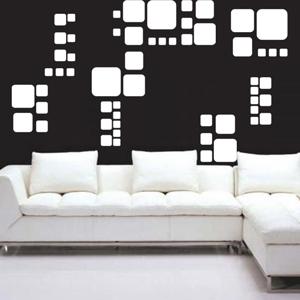 A1004-Square-Miel-Lozange-sticker-Musique-Chien-Lune -stickers- -Amour-design-decoration-Geometrique-