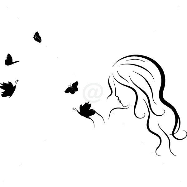 B2523-Decor-animal-butterfly-sticker-wall-girl-Women Face