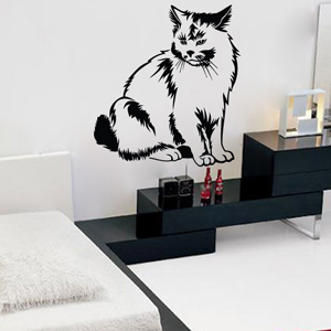 B3005-Decor-animal-butterfly-sticker-wall-cat