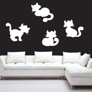 B3009-Decor-animal-butterfly-sticker-wall-cat