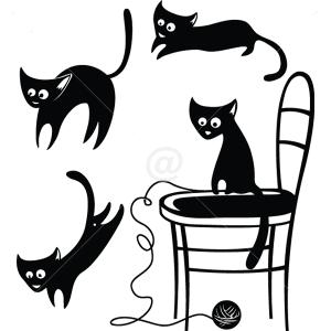 B3012-Decor-animal-butterfly-sticker-wall-cat