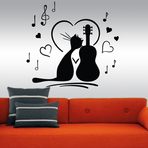 B3021-Decor-animal-Guitar-sticker-wall-cat