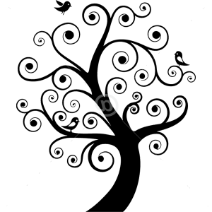 N2409-Decor-flower-Bird-Tree-sticker-wall