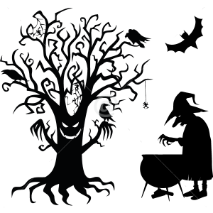V4019-Witch-tree-sport-sticker-wall-halloween
