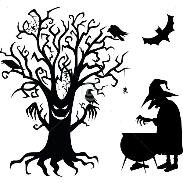 V4019-Witch-tree-sport-sticker-wall-halloween
