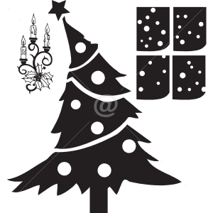 V4055--Noel-Arbre-Chef-Cuisine-stickers-lavage-Magasinage-design-decoration
