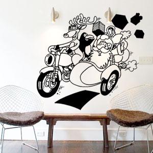 V4059-Noel-Arbre-Chef-Cuisine-stickers-lavage-Magasinage-design-decoration