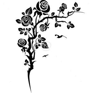 V4166-Fleur-Coin-Oiseaux-Mur-Autocollant-Vinyle