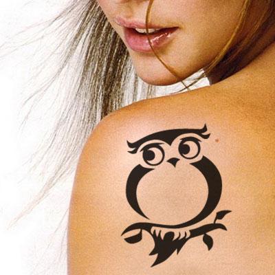 T-2003 Hibou Pochoir pour Tatouage Auto-adhésifs pour Visage Peinture Design Décoration