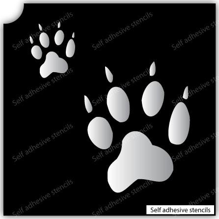 TR-2009 Dog feet Stencil Tattoo Self adhesive Stencils Face Painting Design Decoration