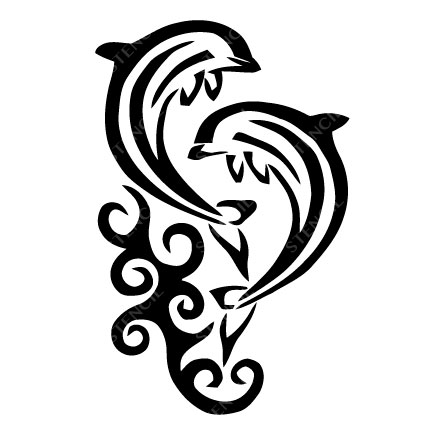 TR-6002 Stencil Tattoo Self adhesive Stencils Face Painting Design Decoration Dolphin