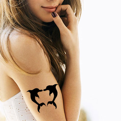 TR-6006 Stencil Tattoo Self adhesive Stencils Face Painting Design Decoration Dolphin